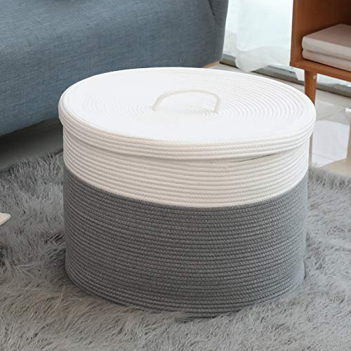 20 x 20 x 15 Extra Large Storage Basket with Lid, Cotton Rope Storage Baskets, Laundry Hamper, Toy Bin, for Toys Blankets Pillows Storage in Living Room Baby Nursery, Large Basket Grey with Cover