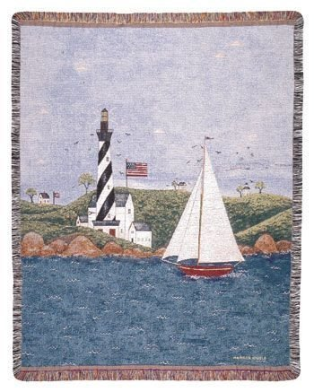 Coastal Breeze Nautical Theme Folk Art Tapestry Throw Afghan 50