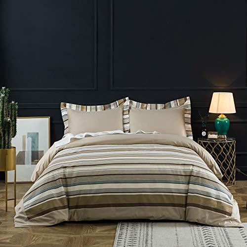 BISELINA 100% Cotton 300 Thread Count Duvet Cover Set 3PCS Khaki Brown Blue Striped Modern Durable (Queen, Khaki) (Duvet Blue Covers Brown And)