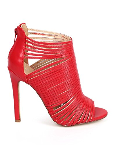 Liliana Cf70 Scarpa Stilettata Da Donna In Similpelle Con Zeppa Aperta - Rosso