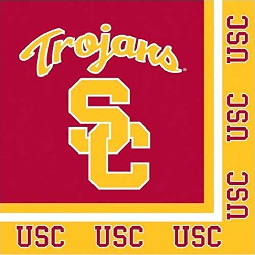 USC Trojans NCAA Party Cocktail Napkins Football Sports Themed College University Party Supply Luncheon Napkins for Beverage for 20 Guests Orange and Red Color Paper Napkins