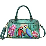 Anna by Anuschka Leather Medium Rounded Satchel Handbag - Purse Holder Bundle (Brazilian Beauties)