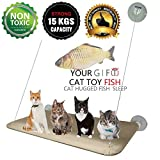 Pet Kitten Cat Hammock 15KG Cat Basking Window Mounted Hammock Perch Cushion Bed Hanging Shelf Seat Great for Multiple Cats of Household Removable - 55 x 35cm(Gift Toy fish)