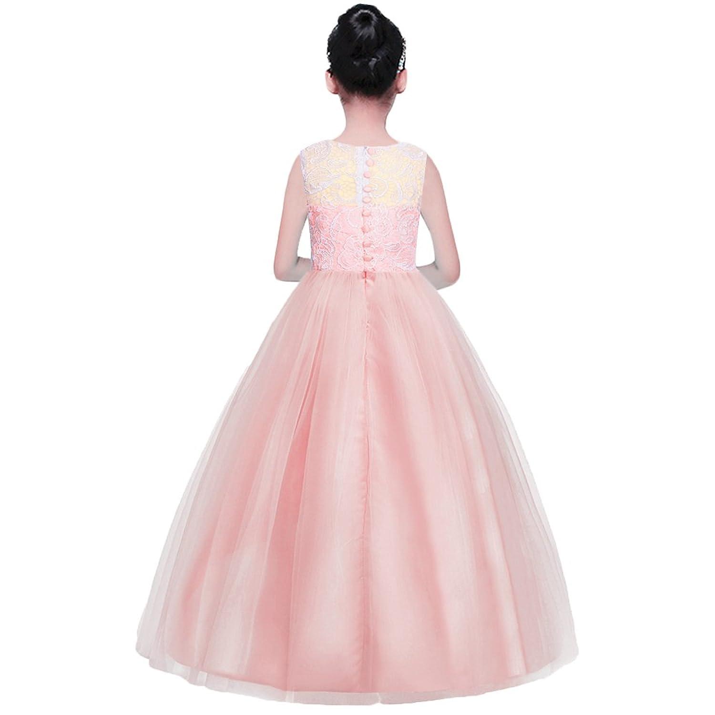 HUAANIUE Niñas Vestido Largo Dama de Honor Formal Vestidos de Novia ...