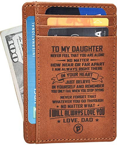 Engraved Father Daughter Gift Wallet - Personalized Anniversary Birthday Gifts for Her From Mom Front Pocket Leather Wallets Slim RFID I love you Ideas