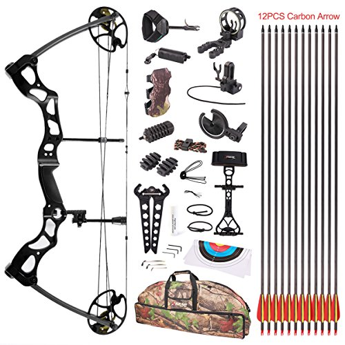 Leader Accessories Compound Bow Hunting Bow 50-70lbs with Max Speed 310fps (Black with Full Accessories)