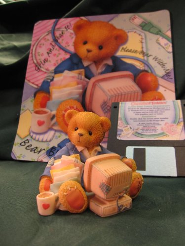 Terry Teddies - Cherished Teddies Computer Set, Terry the Computer Bear with Mouse Pad and Screen Saver