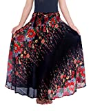 Lannaclothesdesign Women's Long Maxi Ankle Lenght Skirt Boho Skirts (One Size, Black Flower)