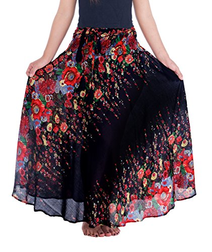 Skirt Gypsy Printed - Lannaclothesdesign Women's Long Maxi Skirt Bohemian Gypsy Hippie Style Clothing (US Size 0-16, Black Flower)