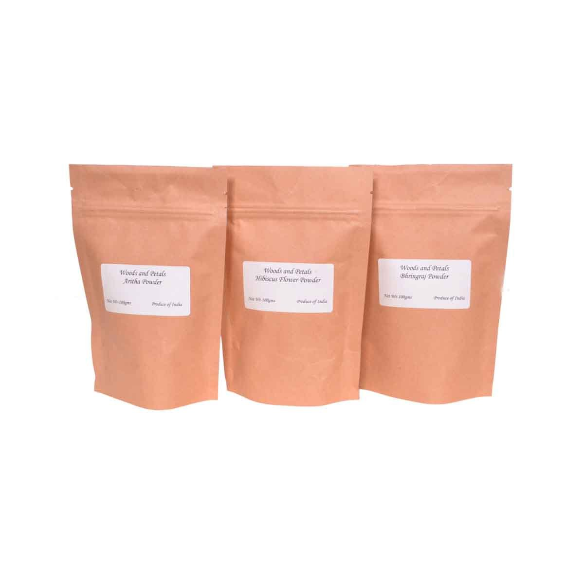Amla powder hibiscus powder bhringraj powder (set of 3) I 300 gms I 10.60 oz woods and petals