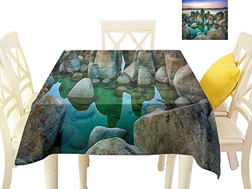 W Machine Sky Stain-Resistant Tablecloth Lake Various Sized Condensed Rocks in River at Evening Time When Lamps Down Marine Theme W54 xL54 Suitable for Buffet Table, Parties, ()