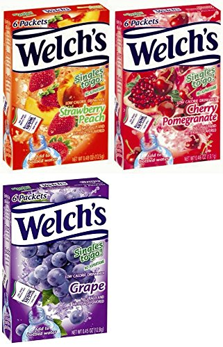 Welchs Singles to Go Variety! Strawberry Peach, Cherry Pomegranate & Grape (Pack of 6)