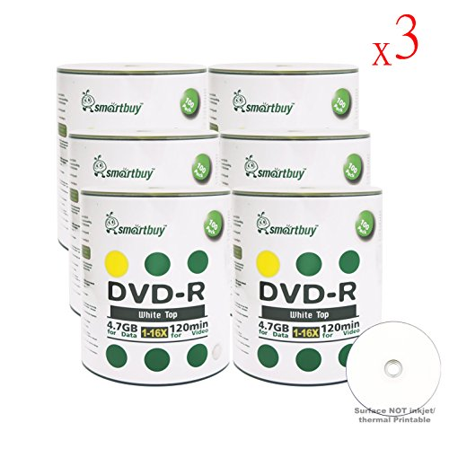 Smartbuy 4.7gb/120min 16x DVD-R White Top Blank Data Video Recordable Media Disc (1800-Disc) by Smartbuy