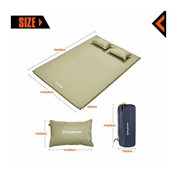 "KingCamp Double Self Inflating Camping Sleeping Pad Triple Zone with 2 Pillows 6 Full inflating size 78"" x 51.2"" x 1.6""; TRIPLE ZONE design make this pad more comfortable; 100% Micro Brushed 75D Polyester, damp-proof, eco-friendly and durable. Two self inflating PILLOWS to add more comfort Two durable non-corrosive brass valves provide rapid inflation and deflation. It is convenient to adjust the comfort level of this self-inflating camp pad Comes with two compression straps, an oversized oxford carrying bag and repair kit (Glue Not Included); Essential for camping, hiking, home living and any other outdoor activities"