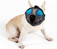 L, Gray EJG Short Snout Dog Muzzle Puppy Nylon Mask Adjustable Pet Mouth Cover