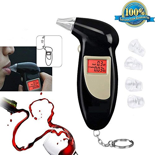 Alcohol Tester Breathalyzer Digital Breath Analyzer Alcohol Breathalysers Test Detector Monitor with 5 Replacement Mouthpieces, Semi-Conductor Sensor Accurate Reading LCD Display Keychain Portable.