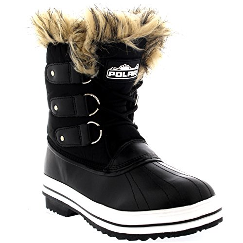 Mujer Manguito De Piel Cordones Caucho Corto Nieve Lluvia Zapato Botas Negro Nylon
