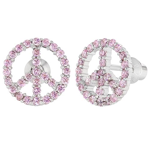 Rhodium Plated Pink Crystal Screw Back Peace Sign Earrings for Girls (Pink Crystal Peace Sign)
