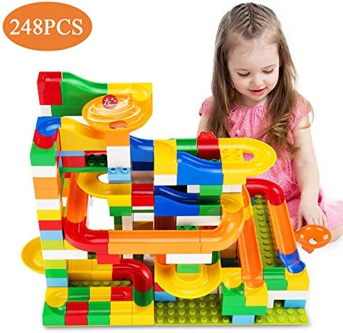 Temi 248 PCS Marble Run Deluxe Sets for Kids, Marble Race Track for 3+ Year Old Boys and Girls, Marble Roller Coaster Building Block Construction Toys, Puzzle Maze Building Set with 8 Marbles Balls