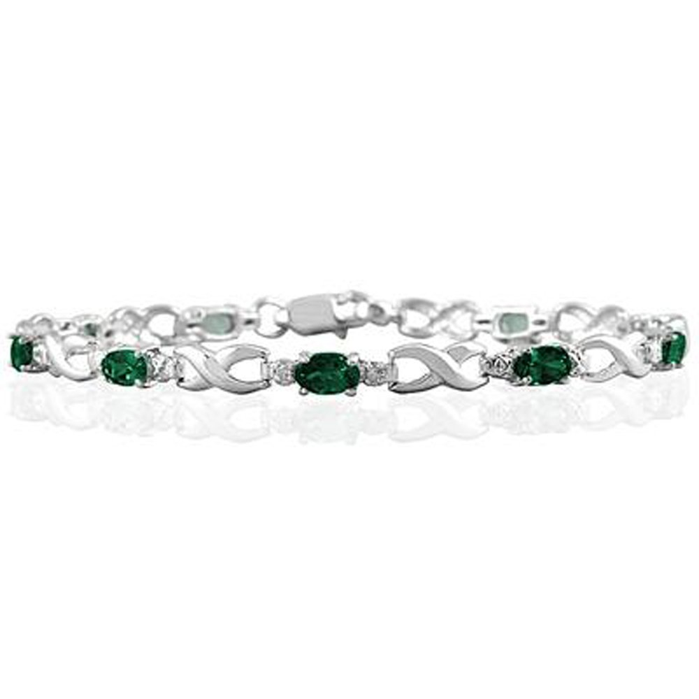 Triostar Valentines Day Collection 925 Sterling Silver Simulated Diamond /& Green Emerlad Studded Link Bracelet AKB171