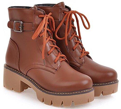 Idifu Womens Platform Platform Mid Chunky Heels Lace Up Martin Boots Stivaletti Alla Caviglia Marrone