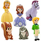 Disney Junior SOFIA THE FIRST 6 Piece Bath Set Featuring Sofia the First, Prince James, Clover, Whatnaught, Minimus and Princess Amber Bath Toys Measuring 2 to 5 Inches Tall