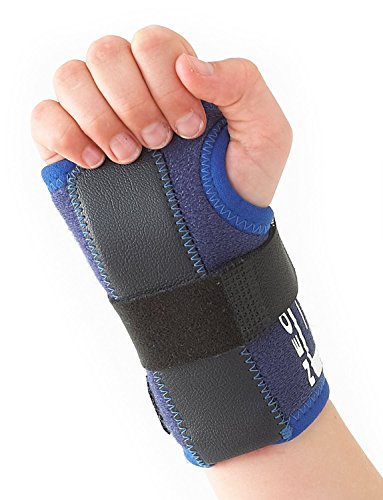 Brace Pediatric Wrist (Neo G Wrist Brace for Kids - Stabilized Support For Carpal Tunnel, Juvenile Arthritis, Joint Pain, Tendonitis, Hand Sprains - Adjustable Compression - Class 1 Medical Device - One Size - Left - Blue)