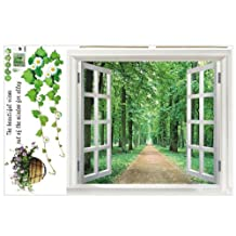 SODIAL(R) Huge Window 3D Green View Flowers Plant Wall Stickers Art Mural Decal Wallpaper