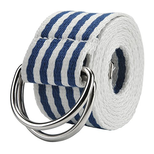 Faleto Mens 51'' D-Ring Nylon Webbing Rainbow Belt Casual Stripes Waistband with Box,3-Blue & White Stripes Cotton Striped Belt