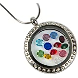 Floating Glass Charm Locket Necklace Studded with CZ. Round Pendant with Snake Chain and Lobster Clasp. Floating Charms Allow You to Customize and Create the Perfect Personalized Gift for Girlfriends, Mothers, Wife, Valentines Day, Birthdays, Weddings or Any Occasion! High Quality with Best Glass Locket Value on Amazon!