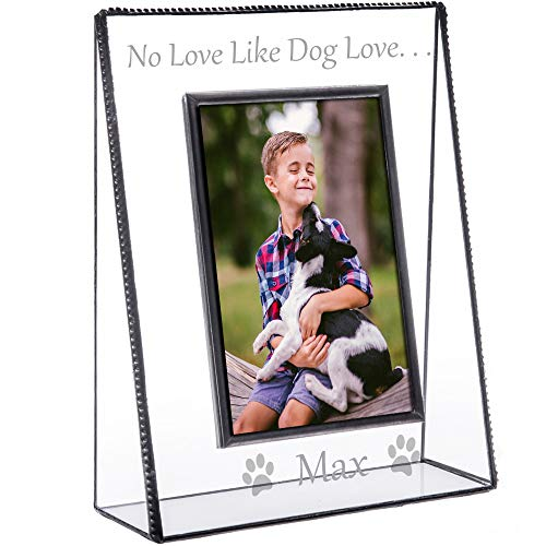 J Devlin Pic 319-46V EP592 Personalized Dog Picture Frame Tabletop 4 x 6 Vertical Photo Clear Engraved Glass Pet (Dog Picture Frame Vertical)