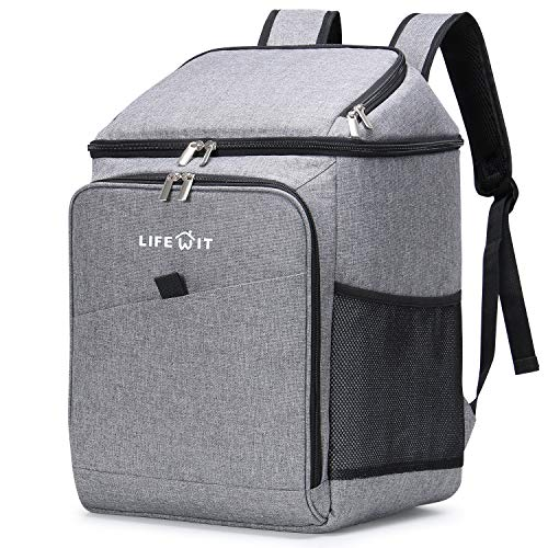 Lifewit Insulated Soft Cooler Bag Cooler Backpack, 26L 34-Can Leakproof Soft-Sided Cooling Bag for Beach/Picnic/Camping/Sports, Collapsible Cooler Bag, Grey