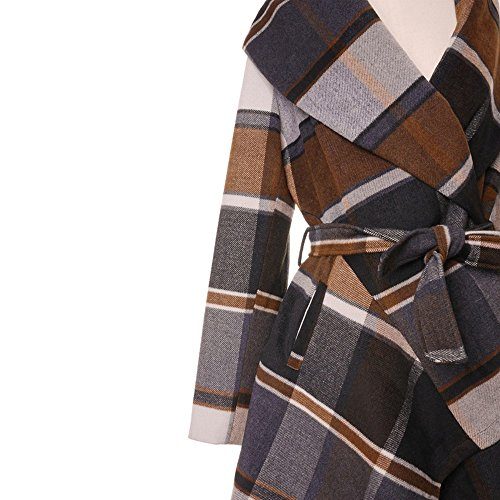 Chicwish Women's Turn Down Shawl Collar Open Front Long Sleeve Check Asymmetric Hemline Wool Blend Coat, Brown, Medium
