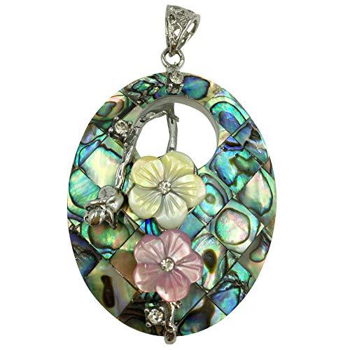 Jewelry58718 Fashion New Zealand Abalone Shell Flower Oval Pendant Bead