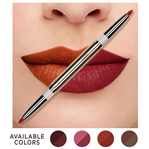 Eve by Eve's Natural Coconut Oil Conditioning Lip Liner Definer with Dual-ended two colors – Blood Orange & Apple Red