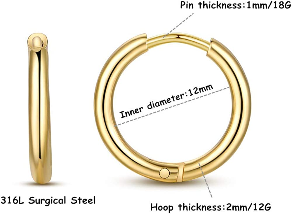 FOSIR Damen Herren Creolen Huggie Ohrringe Klapp-Verschluss Ohrschmuck in 316L Edelstahl,8mm 10mm 12mm,Gold Rose-Gold Schwarz Silber