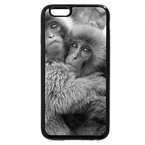 iPhone 6S Case, iPhone 6 Case (Black & White) - Three adorable monkey