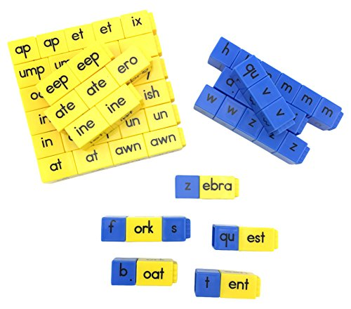 hand2mind Alphabet Linking Letter and Word Building Cubes for Early Reading (Set of 62)