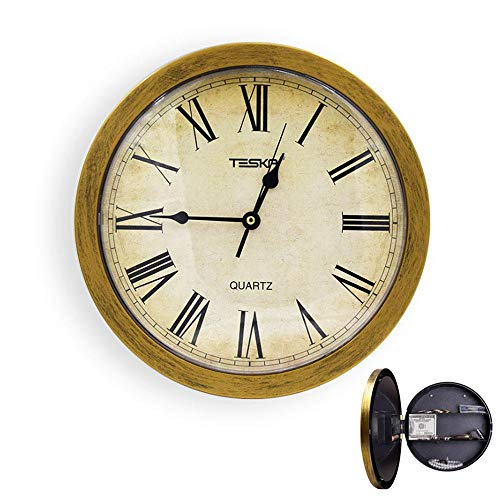 - Aolvo Wall Clock Hidden Safe, 10 Inch Round Quartz Clock, Retro/Vintage Quiet Clock With Secret Compartment Stash Shelf, Safety Hidden Storage Box Container for Cash/Money/Jewelry/Stashing