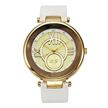 JSDDE Unisex Roman Numeral Scale Genuine Leather Band Large Face Watch 98FT/30M/3ATM Water Resistant White Band Golden Face