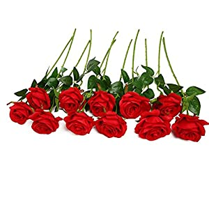 JUSTOYOU 10pcs Artificial Rose Silk Flower Blossom Bride Bouquet for Home Wedding Decor 24