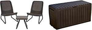 Keter Rio 3 Piece Resin Wicker Patio Furniture Set with Side Table and Outdoor Chairs, Whiskey Brown & Marvel Plus 71 Gallon Resin Outdoor Storage Box for Patio Furniture Cushion Storage, Brown