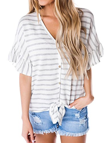 Sleeve Striped V-neck Top - SySea Womens Hawaiian Button up Front Tie Striped Shirt Summer V Neck Short Bell Sleeve Tropical Tops, Gray, Medium