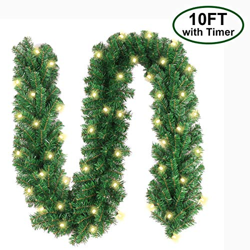 Christmas Garland with 40 LED Lights - Battery Powered Waterproof String Light with Timer - Pre-lit Outdoor Xmas Garland - 10 Foot by 10 Inch (Garland Christmas White Lit Pre)