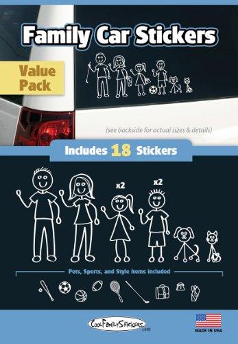 WMI Designs (12050) White Line Family Vinyl Stickers Compact Kit (18)