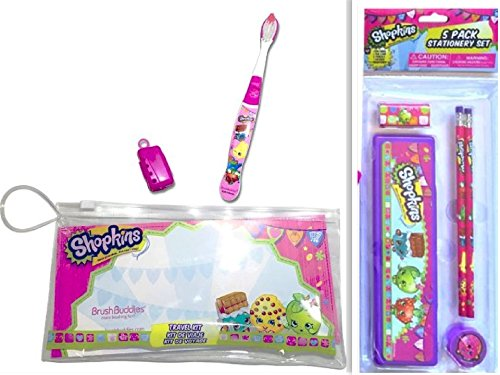 Adorable Shopkins 2 Item Bundle: 1 Brush Buddies Oral / Toothbrush Travel Kit & a 5 Pack Stationary Set (1 Pen Case, 2 Pencils, 1 Eraser, 1 - Tinkerbell Stationary