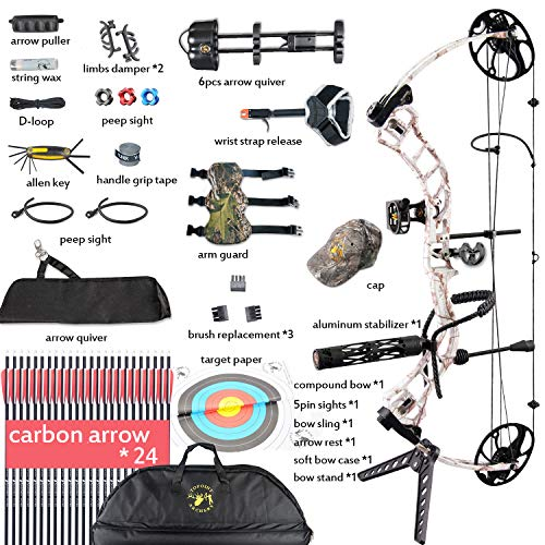 XQMART Archery Compound Bow Package with Hunting Accessories,19-30
