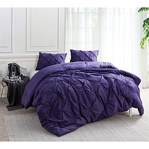 2 Piece Dark Purple Pinch Pleated Comforter Twin XL Set, ...