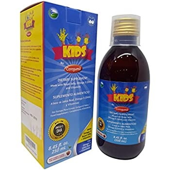 Ceregumil Kids Algae Omega 3 DHA Liquid Daily Multivitamin w/Vitamins C D3 B6 Cyanocobalamin B12 Physical Mental Development Royal Jelly for Growth ...
