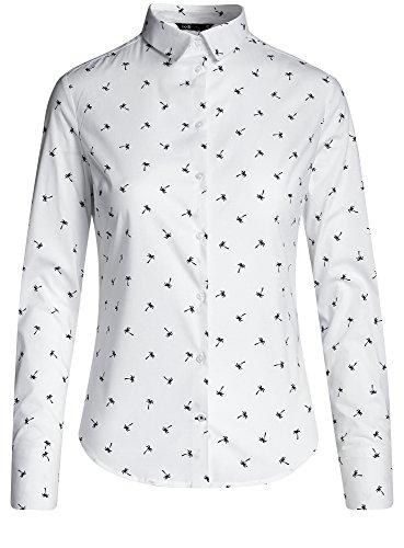 oodji Ultra Mujer Camisa Básica de Algodón Blanco (1079Q)